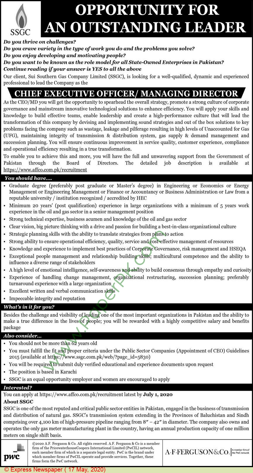 Sui Southern Gas Company Limited jobs newspaper ad for Managing Director in Karachi, Sui