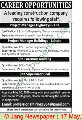 Construction Company jobs newspaper ad for Project Manager in Lahore