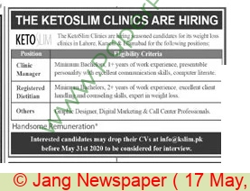Ketoslim Clinics jobs newspaper ad for Clinic Manager in Karachi