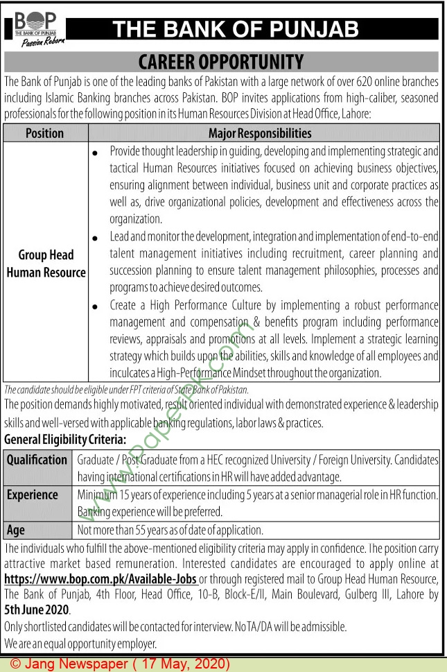 The Bank Of Punjab jobs newspaper ad for Group Head Human Resource in Lahore