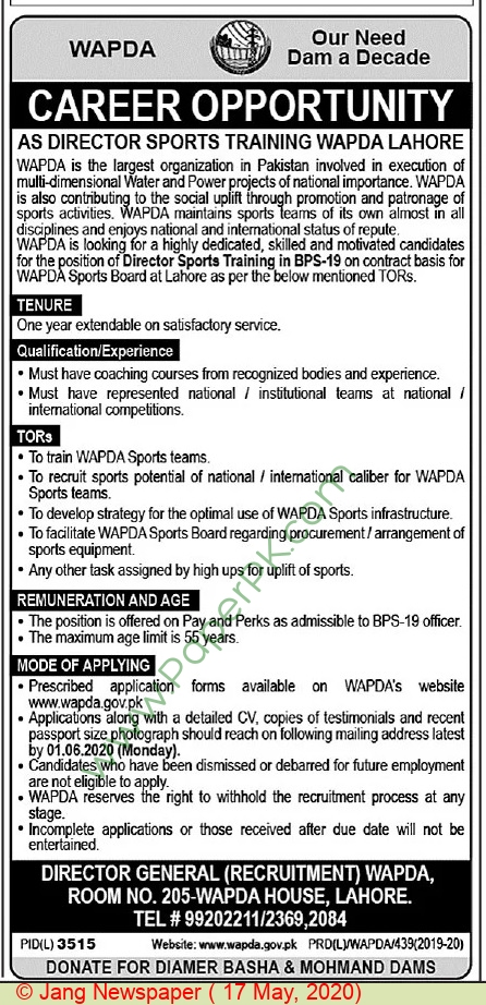 Water and Power Development Authority jobs newspaper ad for Director in Lahore