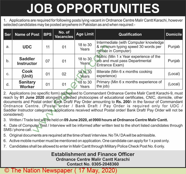 Pakistan Army jobs newspaper ad for Sanitary Worker in Karachi