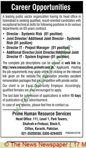 Public Sector Organization jobs newspaper ad for Diector in Karachi