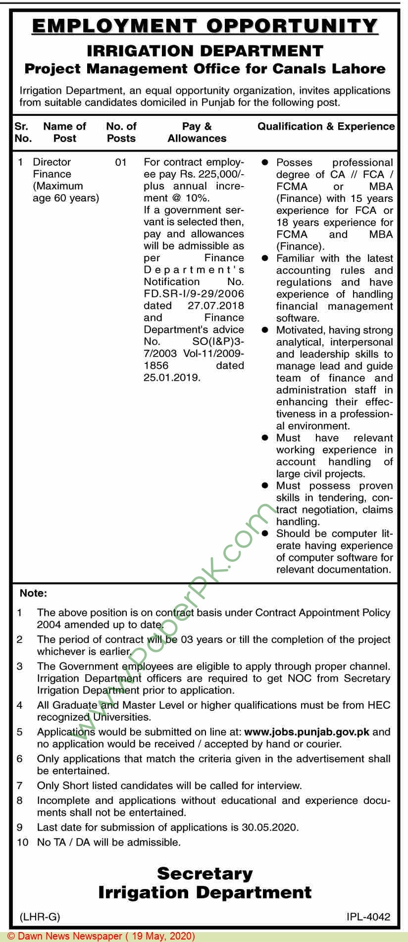 Irrigation Department jobs newspaper ad for Director Finance in Lahore