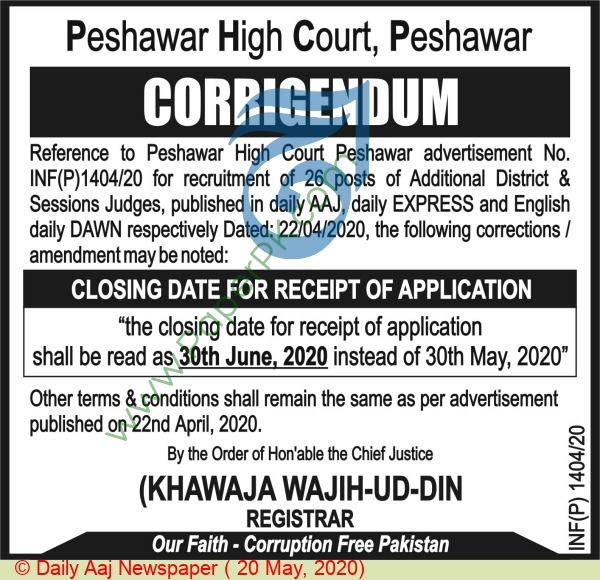 High Court jobs newspaper ad for Staff in Peshawar