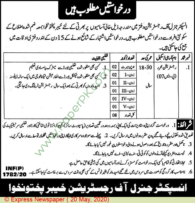 Khyber Pakhtunkhwa Government jobs newspaper ad for Registrar in Peshawar