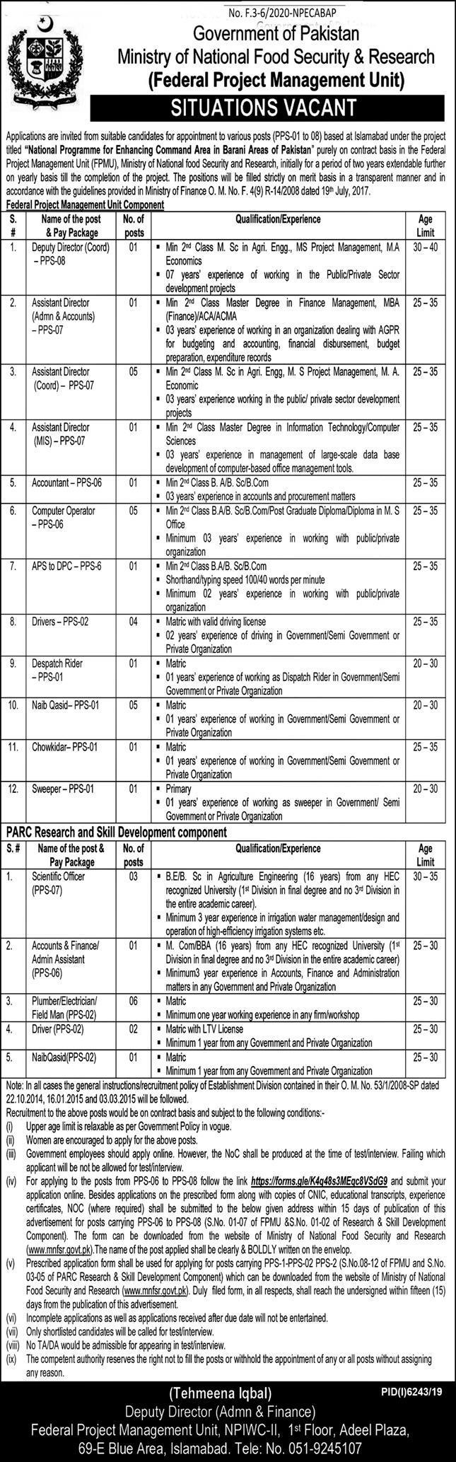 Ministry of National Food Security & Research jobs newspaper ad for Deputy Director in Islamabad