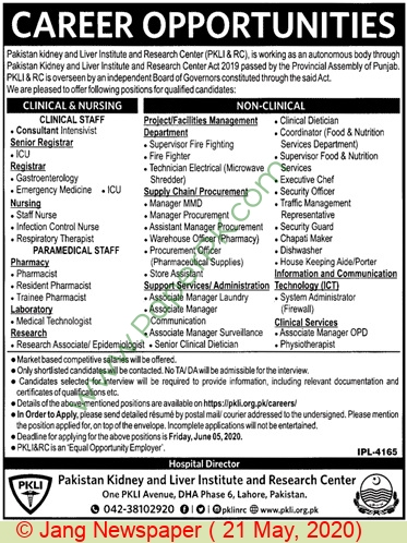 Pkli Lahore Jobs For Clinical Staff, Non Clinical Staff advertisemet in newspaper on May 21,2020