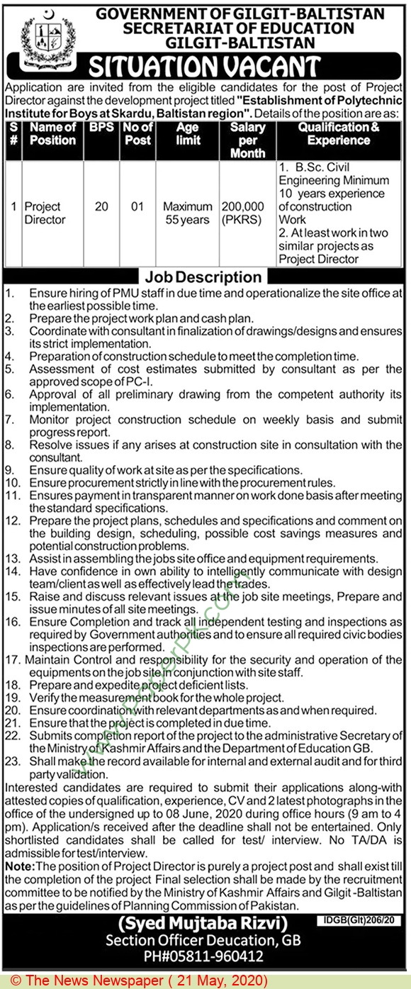 Secondary Education Department jobs newspaper ad for Project Director in Gilgit, Baltistan