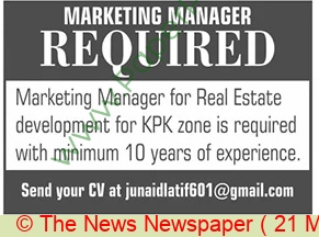 Real Estate Marketing Company jobs newspaper ad for Marketing Manager in Islamabad