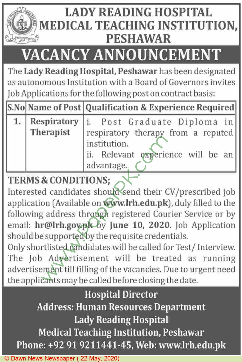 Lady Reading Hospital Medical Teaching Institution jobs newspaper ad for Respiratory Therapist in Peshawar