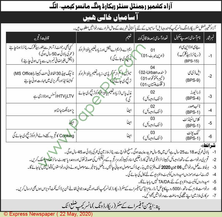 Pakistan Army jobs newspaper ad for Naib Qasid in Attock