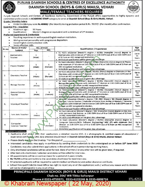 Chemistry Teacher jobs in Vehari at Punjab Daanish Schools & Centers Of Excellence Authority