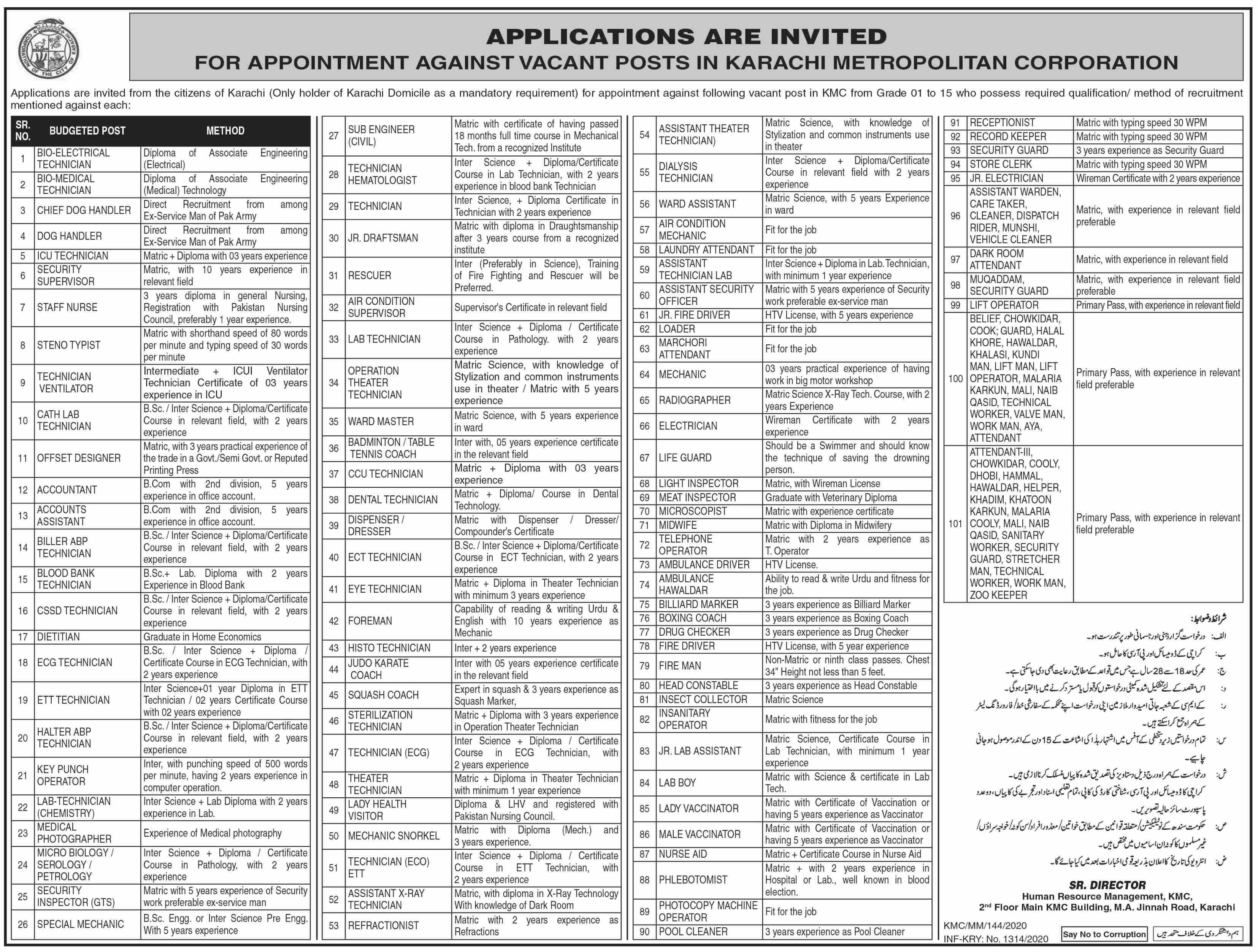 Metropolitan Corporation jobs newspaper ad for Supporting Staff in Karachi