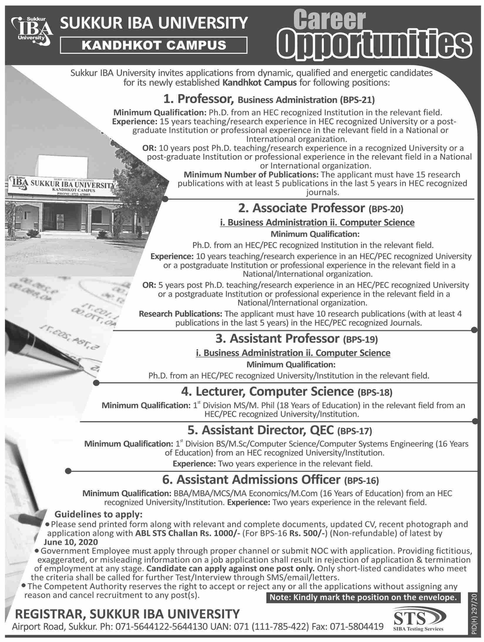 Sukkur Institute Of Business Administration University jobs newspaper ad for Assistant Admission Officer in Sukkur