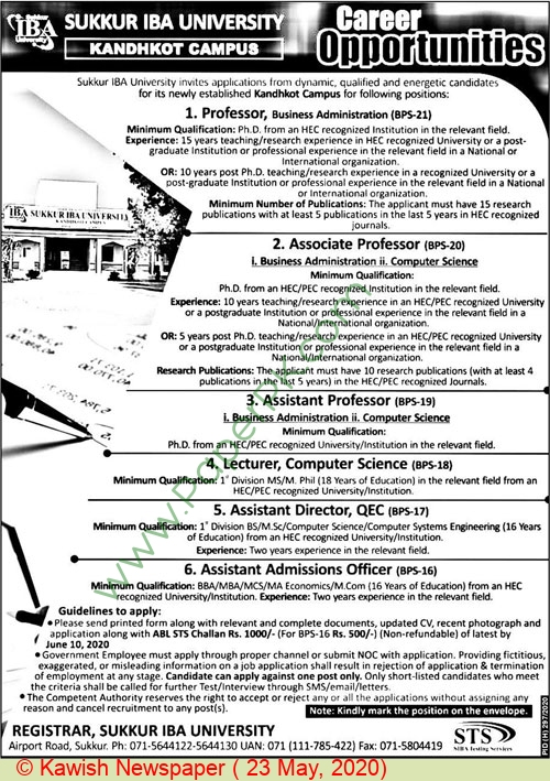 Sukkur Iba University Karachi Jobs For Professor, Associate Professor advertisemet in newspaper on May 23,2020
