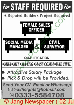 Pakistan Based Company jobs newspaper ad for Sales Officer in Multiple Cities