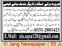 Landhi Export Processing Zone jobs newspaper ad for Production Manager in Multiple Cities