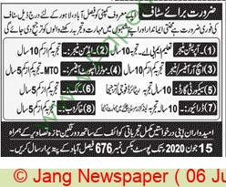 Pakistan Based Company Faisalabad Jobs For Security Guard advertisemet in newspaper on June 06,2020
