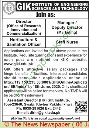Gik Institute Of Engineering Sciences & Technology Swabi Jobs For Director advertisemet in newspaper on June 06,2020