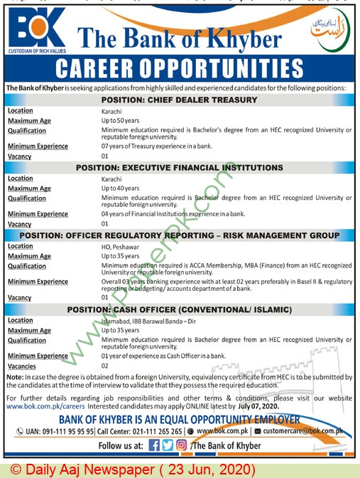 The Bank Of Khyber jobs newspaper ad for Executive Financial Institution in Peshawar