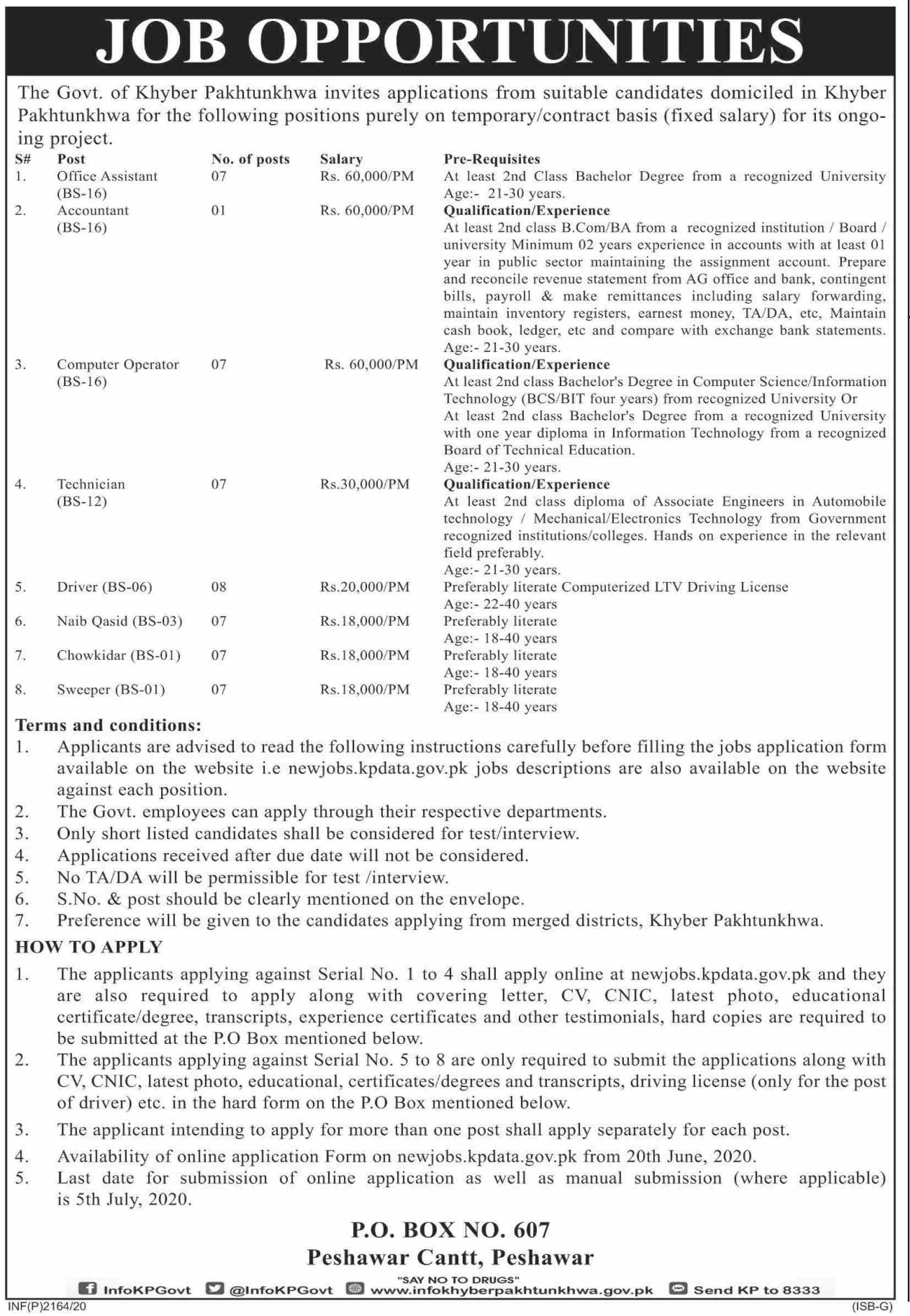 Khyber Pakhtunkhwa Government jobs newspaper ad for Computer Operator in Peshawar