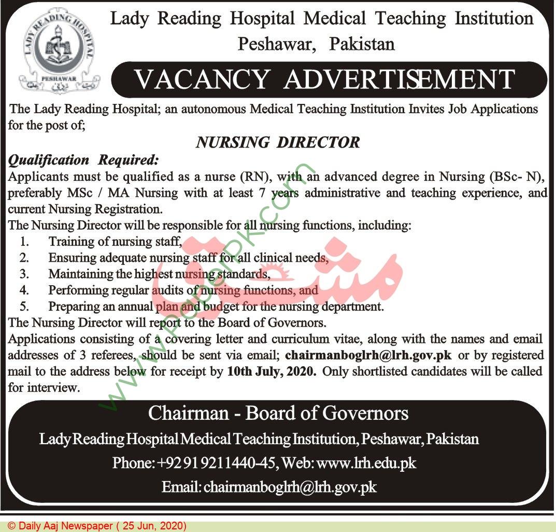 Lady Reading Hospital Medical Teaching Institution jobs newspaper ad for Nursing Director in Peshawar