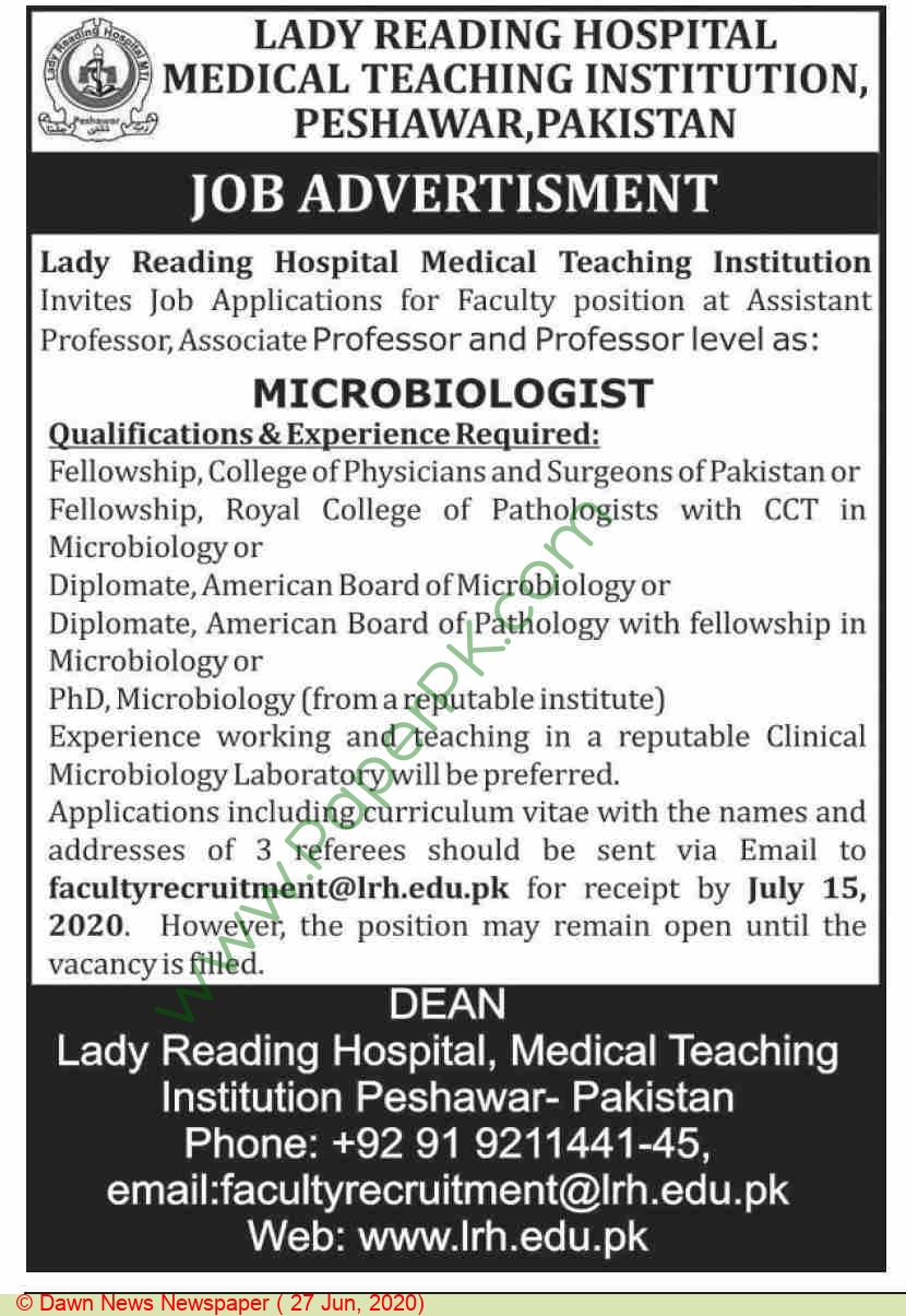 Lady Reading Hospital Medical Teaching Institution jobs newspaper ad for Assistant Professor in Peshawar