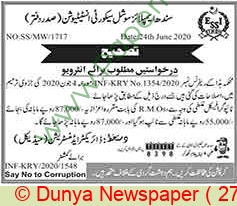 Sindh Employees Social Security Institution jobs newspaper ad for Resident Medical Officer in Karachi