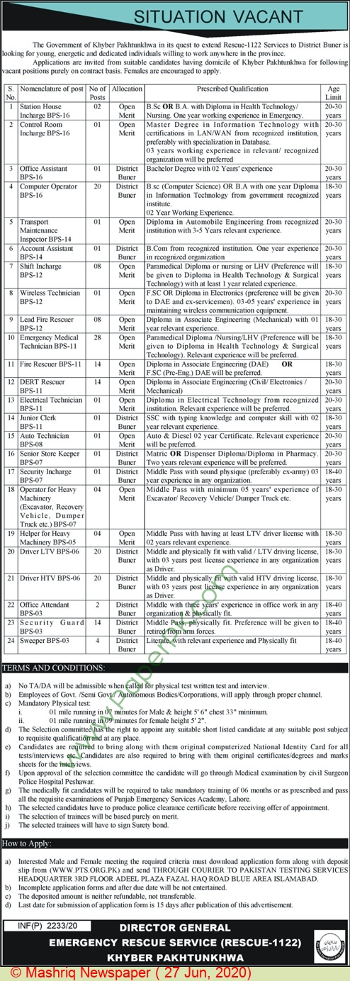 Kpk Emergency Rescue Service 1122 jobs newspaper ad for Transport Maintenance Inspector in Peshawar