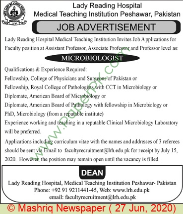 Lady Reading Hospital Medical Teaching Institution jobs newspaper ad for Professor in Peshawar