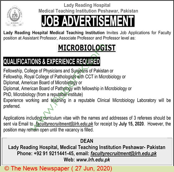 Lady Reading Hospital Medical Teaching Institution jobs newspaper ad for Associate Professor in Peshawar