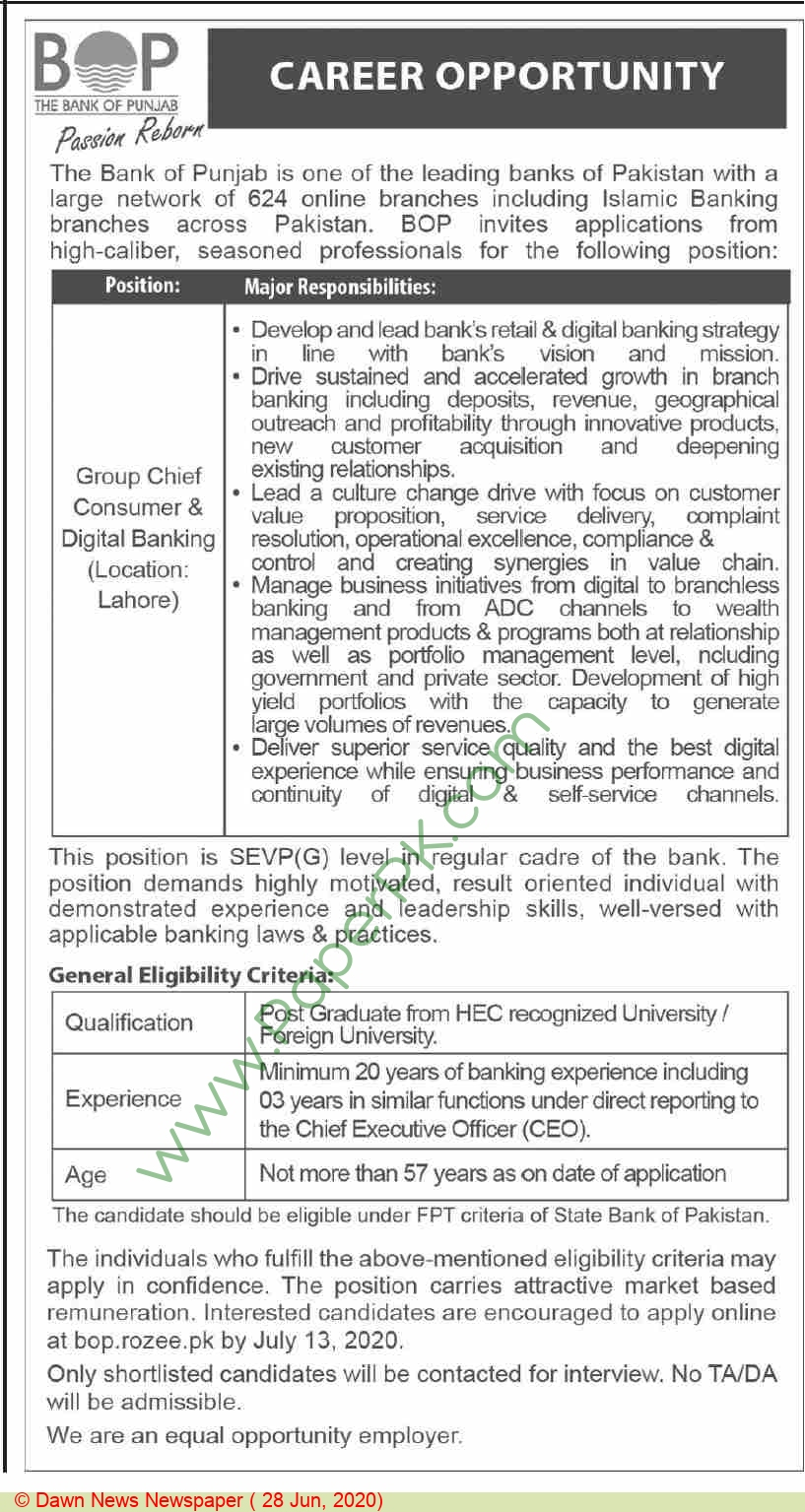 The Bank Of Punjab jobs newspaper ad for Group Chief Consumer & Digital Banking in Lahore