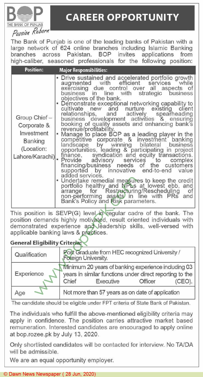 The Bank Of Punjab jobs newspaper ad for Group Chief Corporate & Investment Banking in Lahore