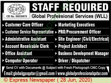 Global Professional Services jobs newspaper ad for Customer Care Officer in Lahore