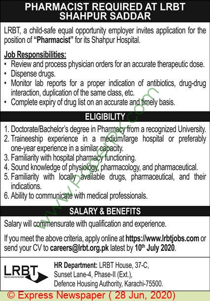 Layton Rehmatullah Benevolent Trust Free Eye Hospital jobs newspaper ad for Pharmacist in Islamabad