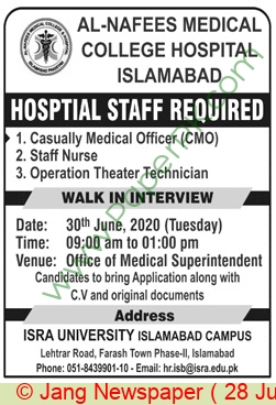 Al Nafees Medical College Hospital jobs newspaper ad for Casually Medical Officer in Islamabad