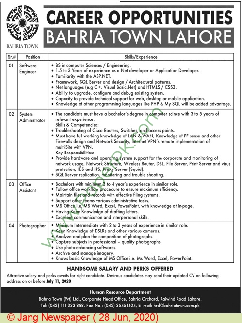 Bahria Town jobs newspaper ad for System Administrator in Lahore
