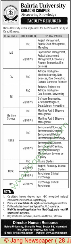 Bahria University jobs newspaper ad for Faculty Staff in Karachi