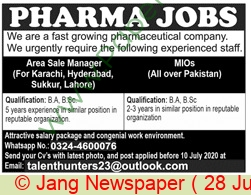 Pharmaceutical Company jobs newspaper ad for Area Sales Manager in Lahore
