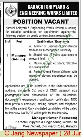 Karachi Shipyard & Engineering Works Limited jobs newspaper ad for Manager in Karachi