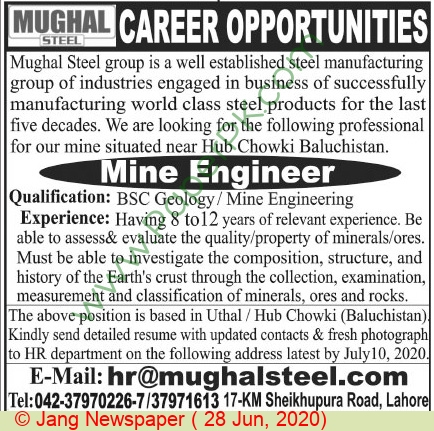 Mughal Steel jobs newspaper ad for Mine Engineer in Lahore