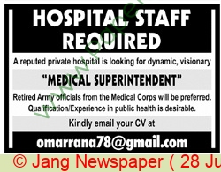 Pakistan Based Company jobs newspaper ad for Medical Superintendent in Karachi