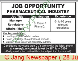 Pharmaceutical Company jobs newspaper ad for Manager Regulatory Affairs in Multiple Cities