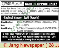 Prime Tele Power Solutions Private Limited jobs newspaper ad for Regional Manager in Karachi