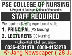 Pse College Of Nursing jobs newspaper ad for Principal, Lecturer in Lahore