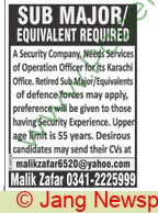 Sub Major jobs in Karachi at Security Company