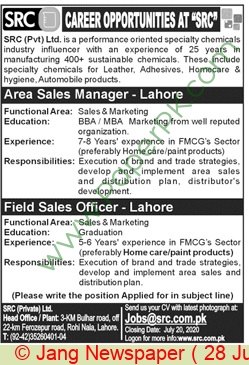 Src Private Limited jobs newspaper ad for Area Sales Manager in Lahore