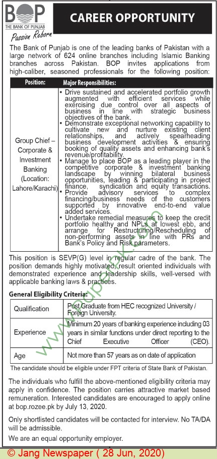 The Bank Of Punjab jobs newspaper ad for Chief Corporate & Investment in Lahore