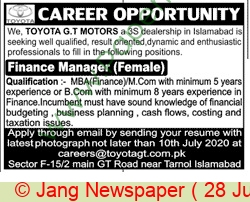 Toyota Motors jobs newspaper ad for Finance Manager in Islamabad